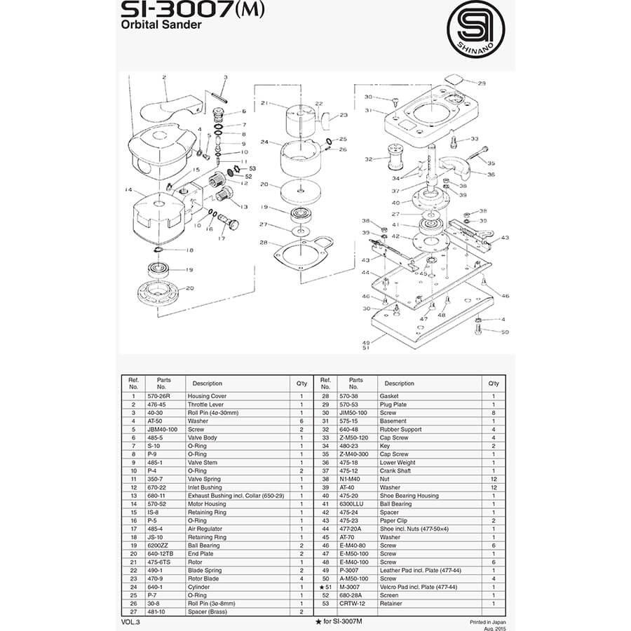 نقشه انفجاری 3007 شینانو